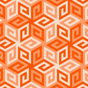 greek cube : vermilion orange