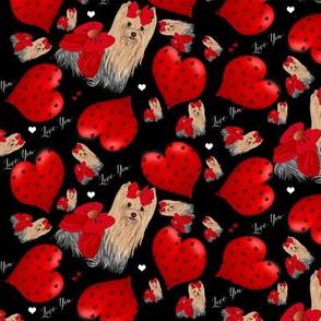 "Yorkie - Hearts Large size 3 1/2 xo 2 1/2"" Yorkie"