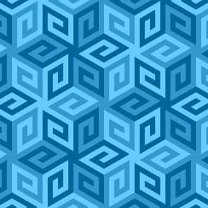 greek cube : cerulean blue