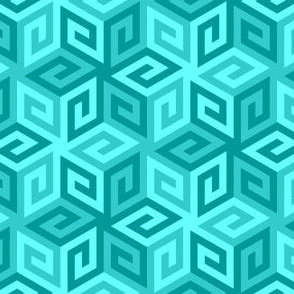 greek cube : cyan teal