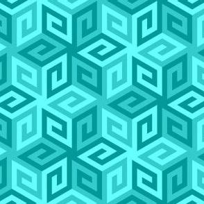 greek cube : cyan teal