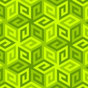 greek cube : chartreuse lime green