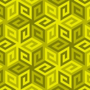 greek cube : moss yellow green