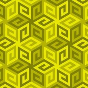 greek cube : moss yellow green