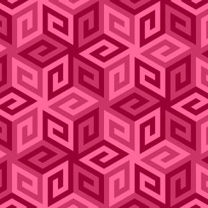 greek cube : rose pink crimson