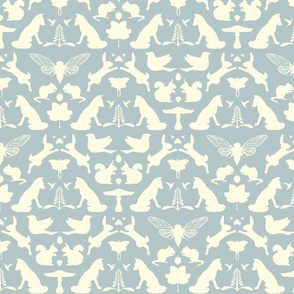 woodland damask blue