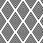 Black on white Op Art cut out diamonds by Su_G