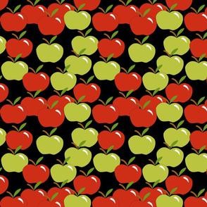Cascading apples on black