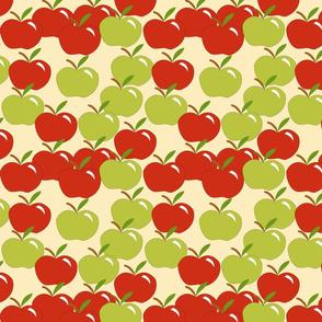 Cascading apples on tan