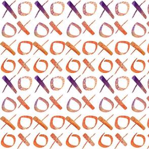 xoxo Watercolor Purple Orange