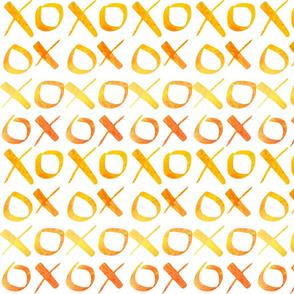 xoxo Watercolor Yellow Orange