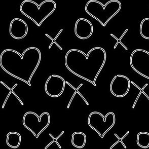 xoxo Heart Outline Black White