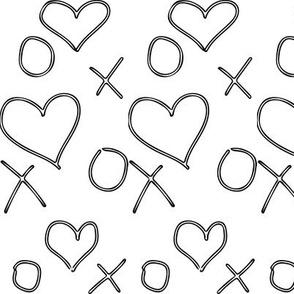 xoxo Heart Outline Black