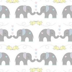 Elephant Kisses on White