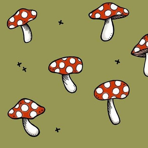 Mushrooms on Green