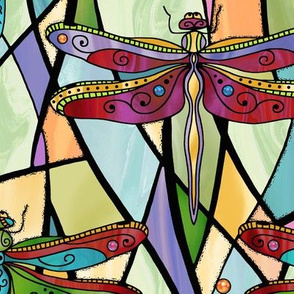 Dragonflies on stained glass windows