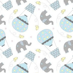 Elephants and Hot Air Balloons Blue