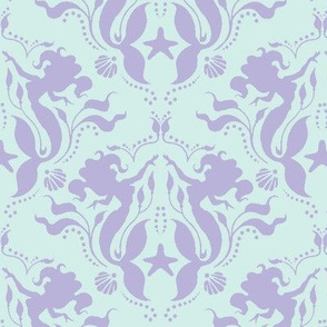 Mermaid Damask - Lavender/Mint