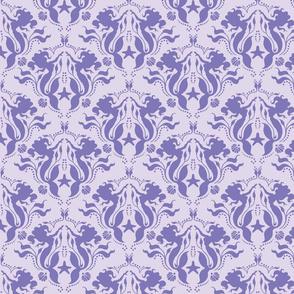 Mermaid Damask - Purple/Purple