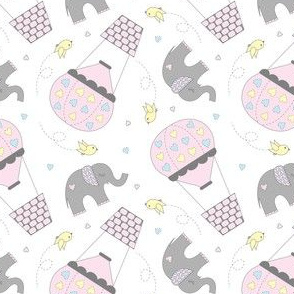 Elephants and Hot Air Balloons Pink