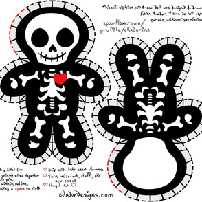 Cute Skeleton Cut & Sew Doll