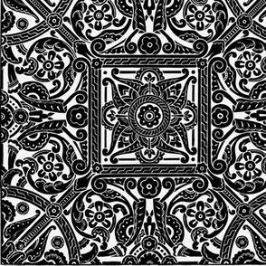 Stylized rosette design, 1870