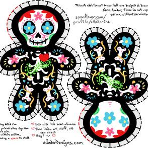 Cute Dia de los Muertos Skeleton Cut & Sew Pillow