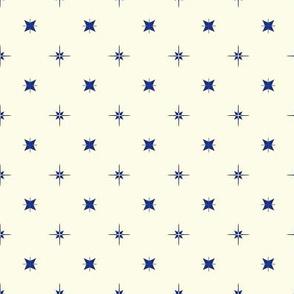 Tiny Blue and Grey Stars on Cream