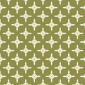 Tiny Yellow Flowers on Olive Green
