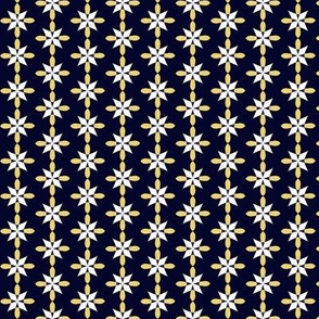Tiny Yellow & White Design on Dark Inky Blue