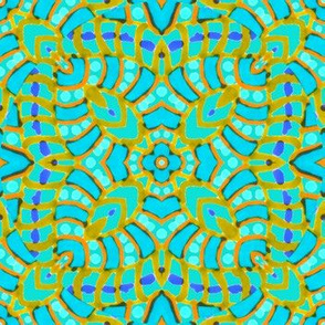Aqua Batik Kaleidoscope Stripes