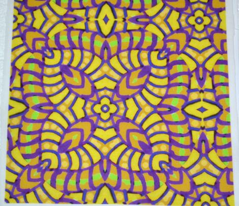 Yellow and Purple Batik Kaleidoscope_Stripes