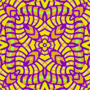 Yellow and Purple Batik Kaleidoscope_Stripes