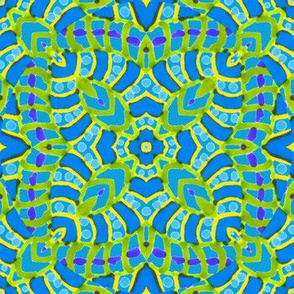 Sea Blue and Green Batik Kaleidoscope_Stripes