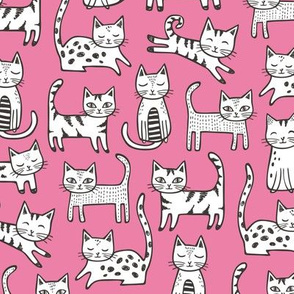 Cats Black&White with Stripes Dark Pink