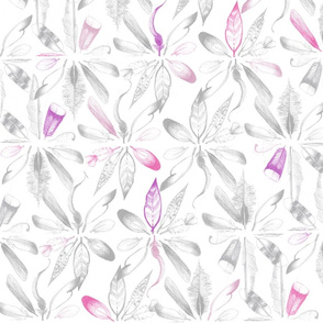 sketchy Feathers in circels/ornamental ; pink pastel and grey