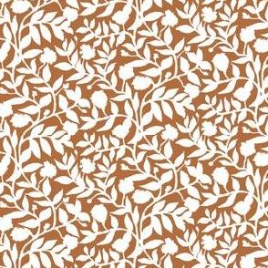 White Vine Silhouette on Cocoa Brown