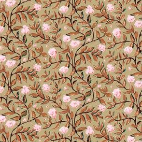 Cocoa Brown Vines with Pink Blooms on Light Tan