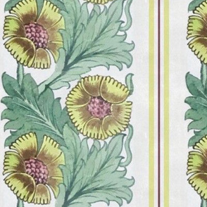 Floral Vertical Stripe in Yellow and Green
