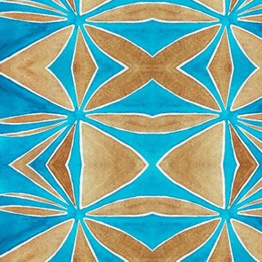 Ocean Blue and Brown Sand Watercolors