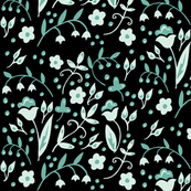floral blue and black