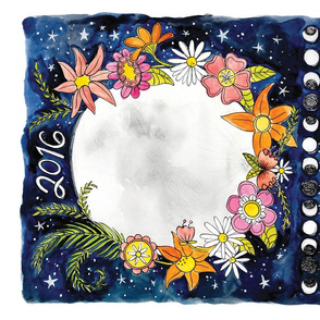 2016 Moon Calendar Tea Towel