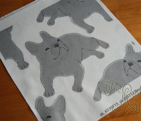 Tinted French Bulldog sketch - white