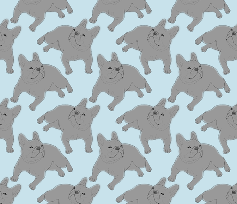 Tinted French Bulldog sketch - blue