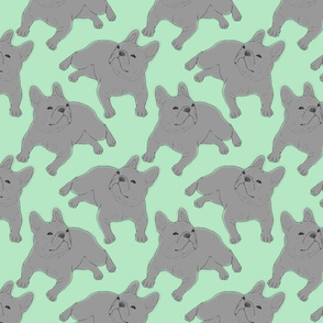 Tinted French Bulldog sketch - green