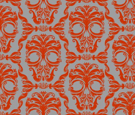 Scrollwork Skulls - red on gray