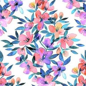 Diamond lattice watercolor floral - purple and peach