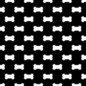 Licorice Black with White Dog Bones