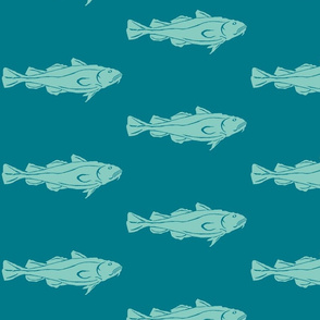 Cod XL aqua on teal
