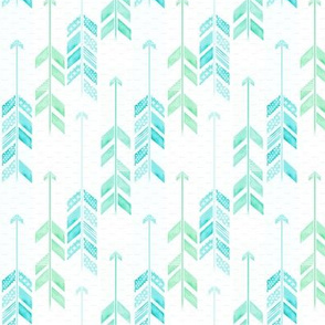 Teal and green arrows